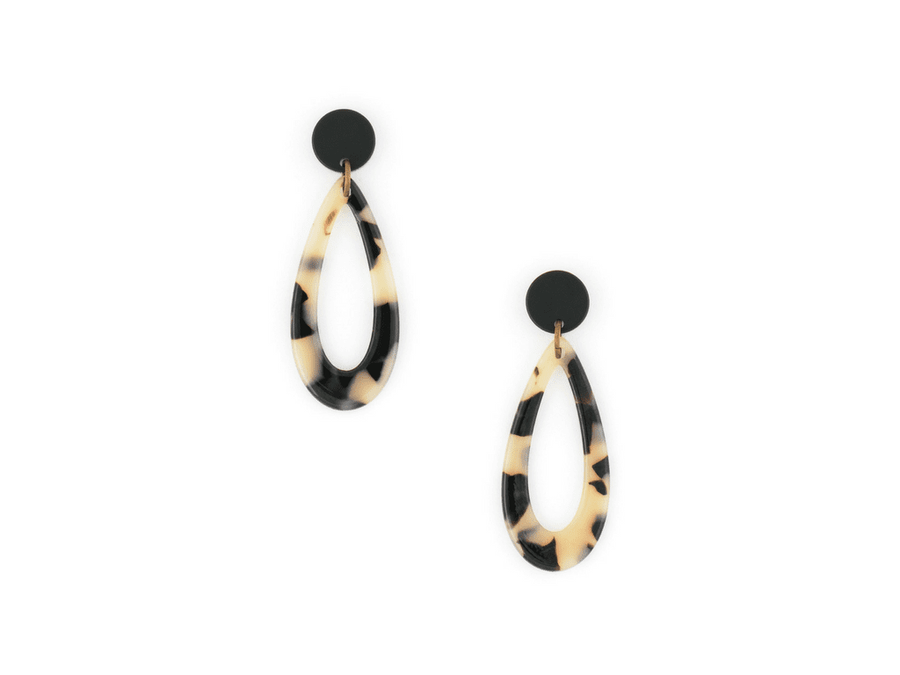 Marbella Resin Drops - Black/Tan