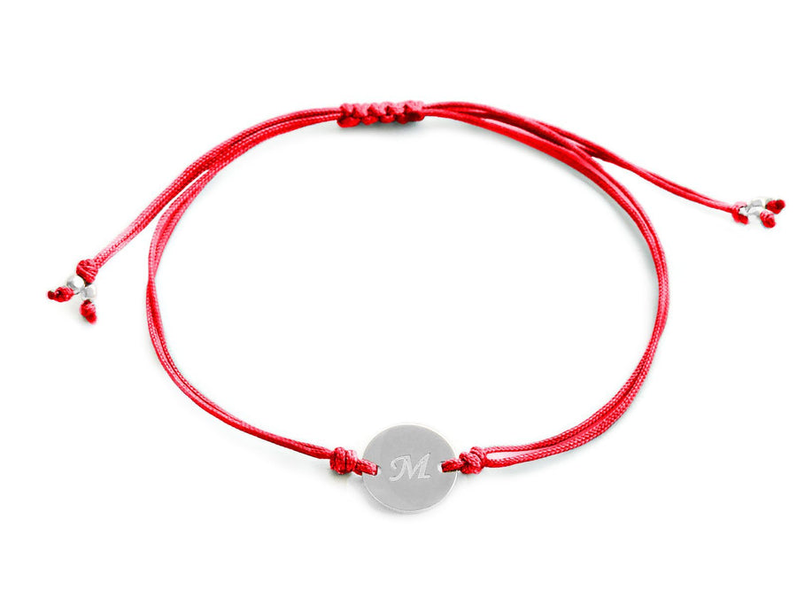 Silver Initial Bracelet - Red