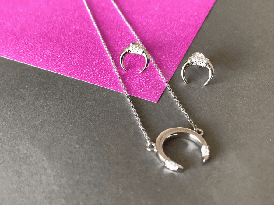 Collar Mini Sparking Crescent - Silver Pack