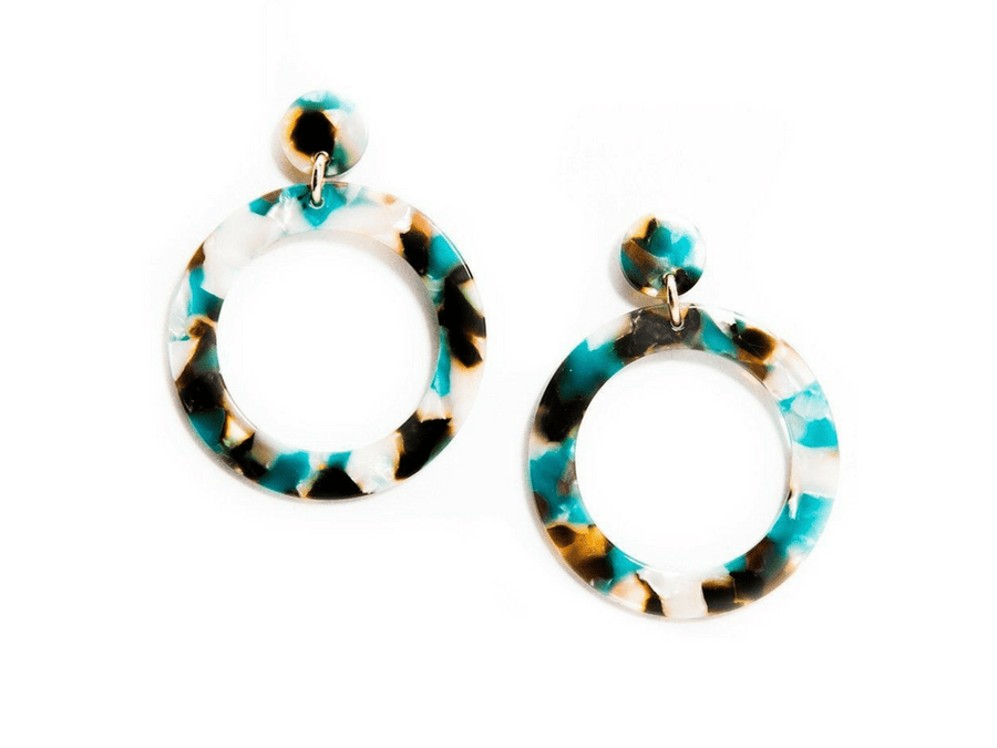 Camila Resin Earrings - Teal