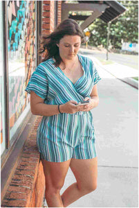 Faded Mint Stripe Romper
