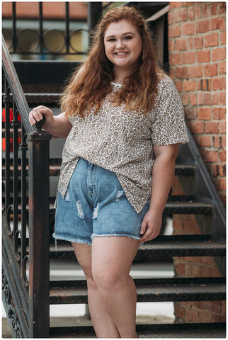 Curvy Distressed Acid Washed Denim Shorts