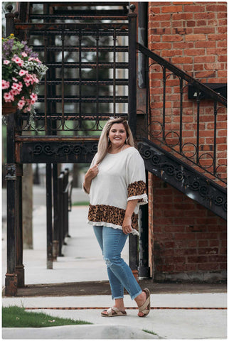 Curvy Frayed Hem Top with Leopard Detailing