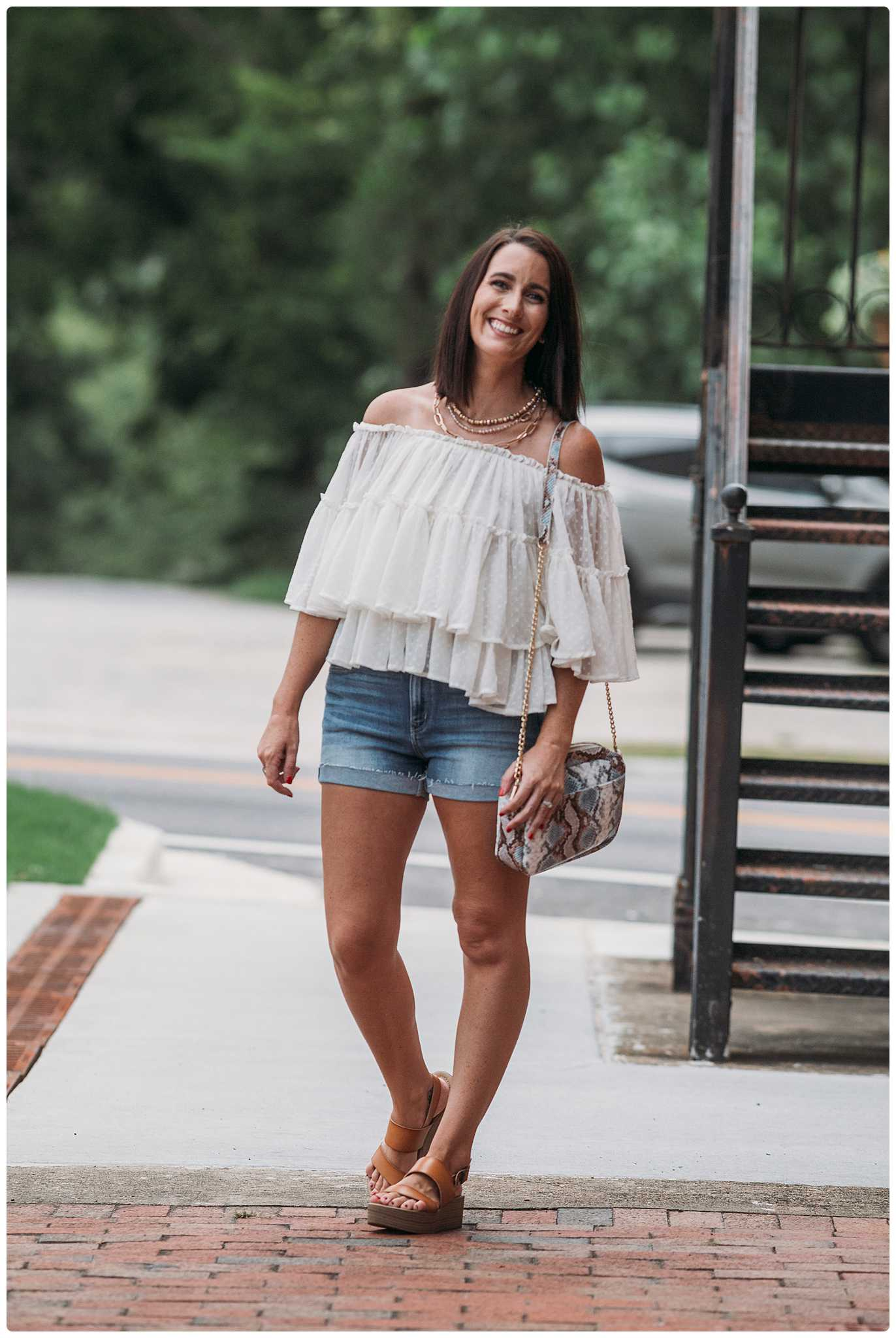 4 Tier Chiffon Ruffled Off the Shoulder Blouse
