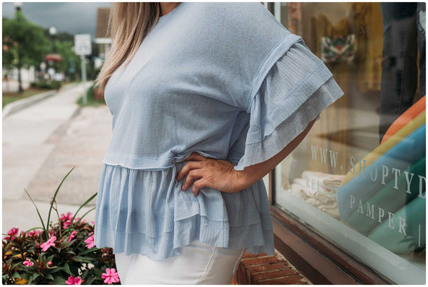 Curvy Sky Blue Layered Ruffle Top