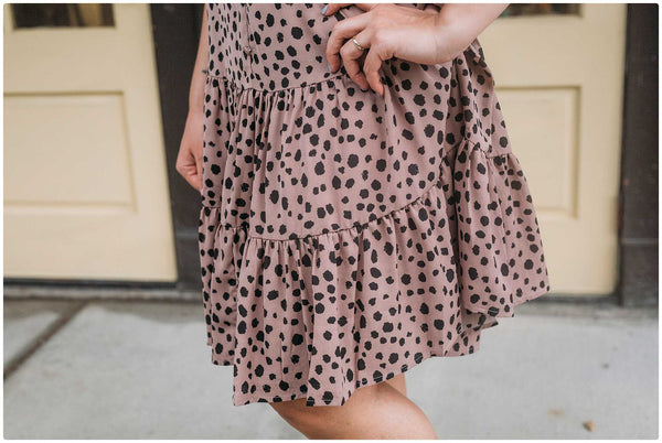 Mini Leopard Button Front Tiered Dress