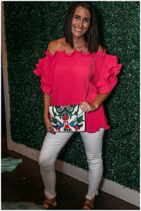 Hot Pink Scalloped Ruffled Sleeve Top