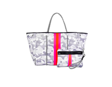 Greyson Rise Tote - White Camo/Pink/Orange Stripe