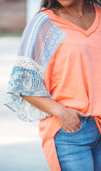Cantaloupe Patchwork Sleeve Top