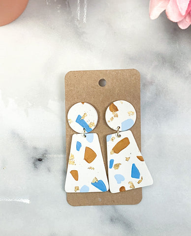 Blue and Beige Speckled Clay earrings