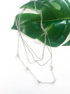 Silver layered geo necklace