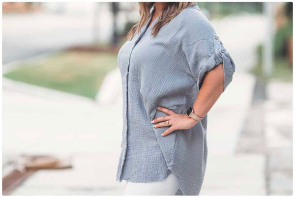 Crinkle Textured Button Down Tunic Shirt