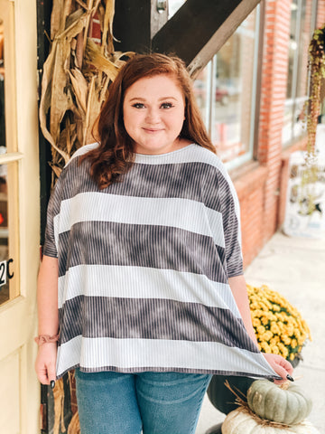Ribbed, Striped Blue Short Sleeve