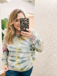 Grey Multi-Color Crew Neck Sweater