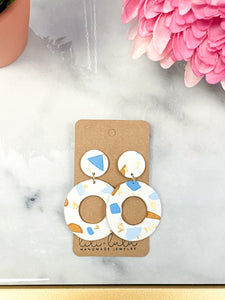 Blue and Beige Circle clay earrings