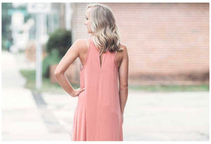 Marsala Halter Maxi Dress