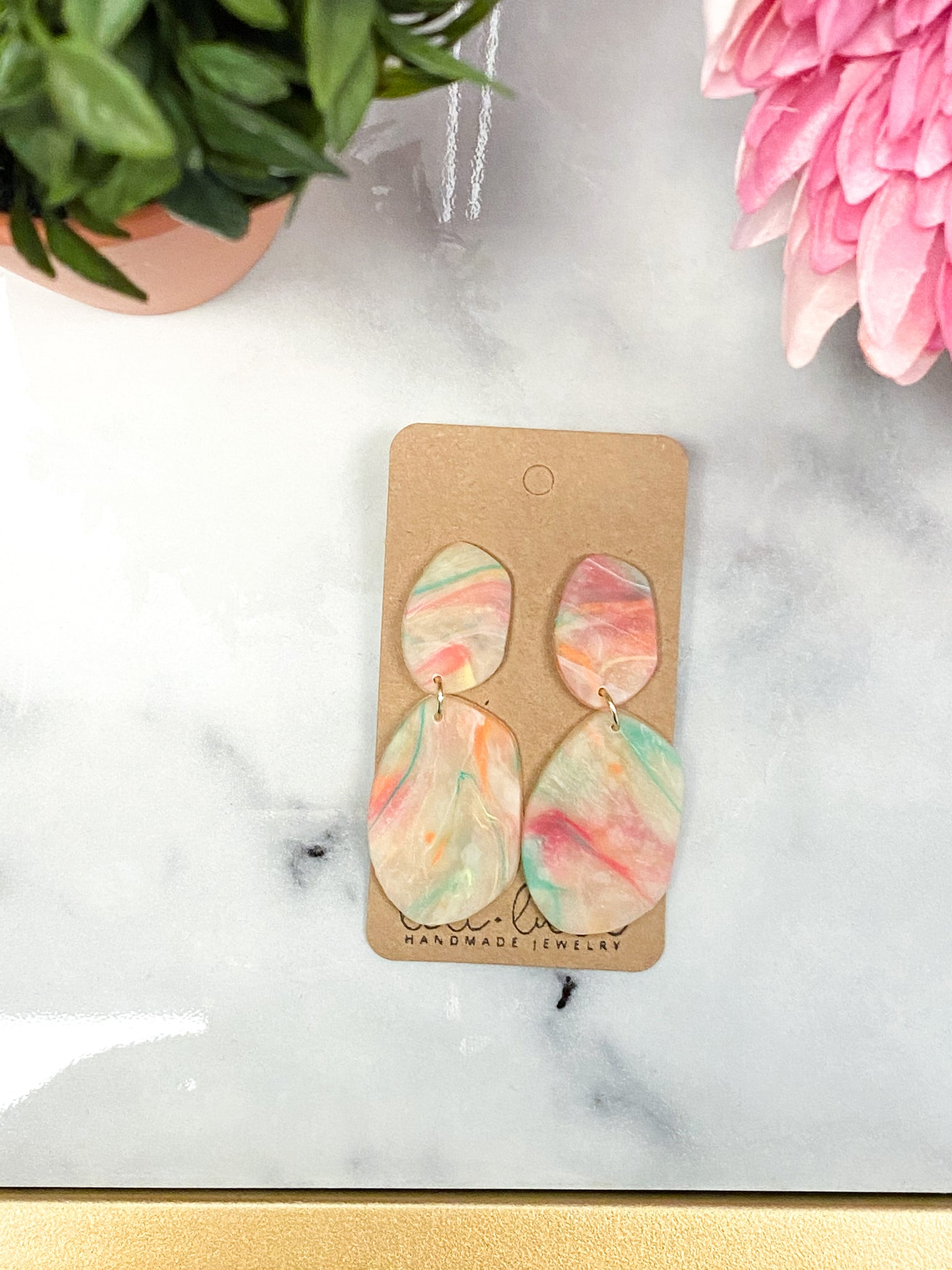 Pastel Tie Dye Clay Earrings