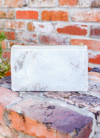 Liz Custom Collection Crossbody Bag Snake White Silver