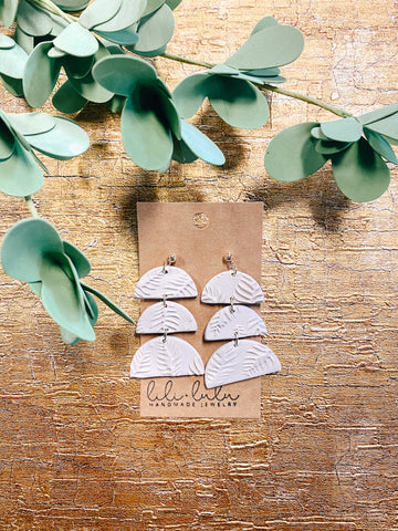 Tan Tiered Clay Earrings with Leaf Impressions