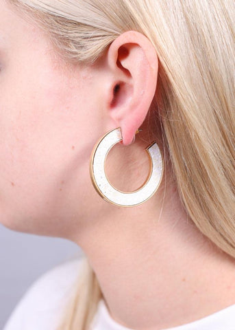 Harvis Metallic Snake Print Flat Post Hoop - Snake Metallic Ivory
