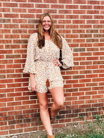 Button Down Leopard Romper