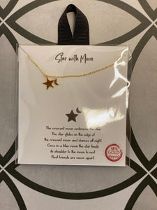 "Star with Moon 18k Gold Dipped 16-18"" Necklace"