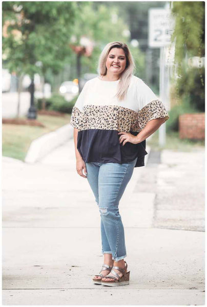 Curvy Colorblock Animal Print Top
