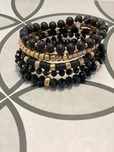 Black, Crystal, Wood and Gold Beaded Set of 5 Bracelets