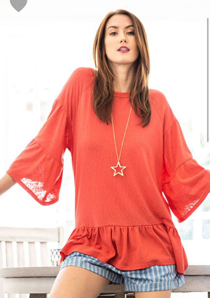 Hot Coral Ruffled Sleeve Cotton Top