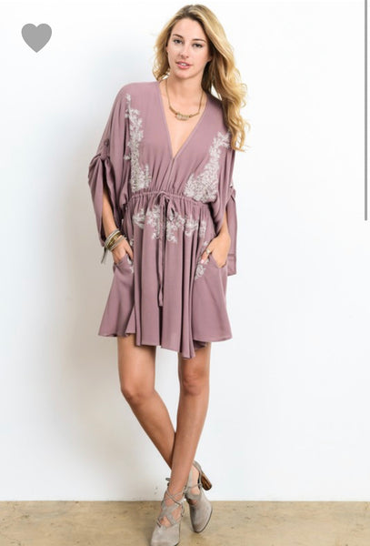 Give Me a Swirl Mauve Embroidered Dress