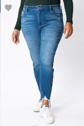 Curvy KanCan High Rise Ankle Skinnies Medium Wash