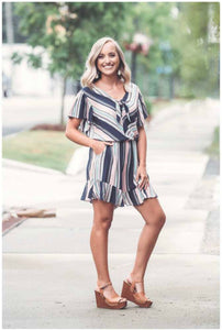 Striped Ruffled Romper