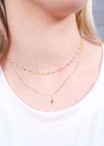 Dorie Delicate Double Layer Necklace With Lightning Charm Light Multi