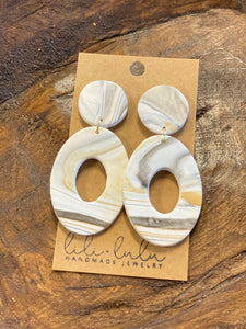 Marbled Oval Clay Earrings