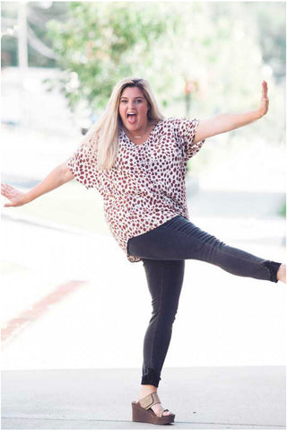 Curvy Leopard Satin Top