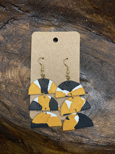Black & Gold Tiered Clay Earrings