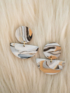 Marble Tan, Cream and Black Clay Earrings