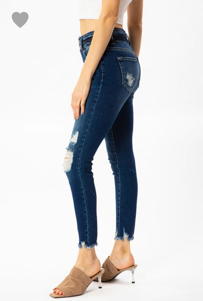 Kancan High Rise Double Button Ankle Skinnies