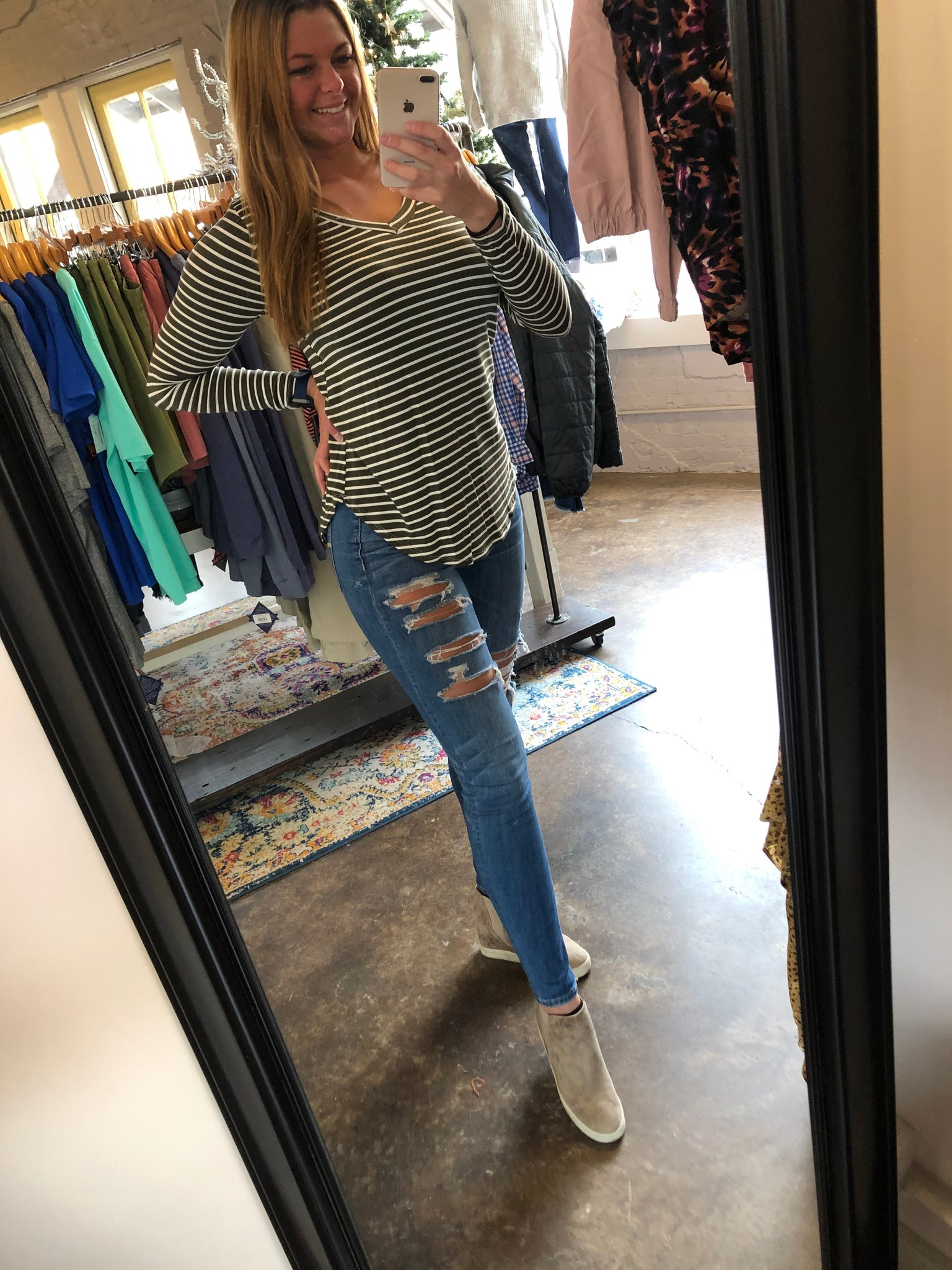 Basic Stripe Long Sleeve Top (4 Colors)