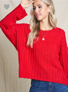 Red Hot Slouchy Lightweight Sweater