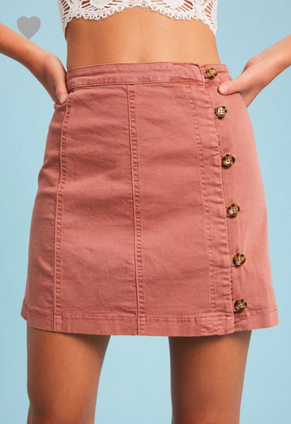 BUTTON DOWN  WASHED SKIRT