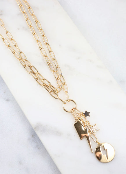 Electra Double Chain Necklace with Star & Lightening Charms