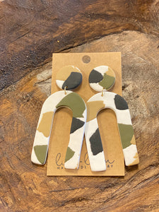 Olive & Natural Arch Clay Earrings