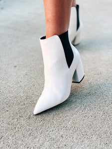 Chelsea Booties in White Crocodile
