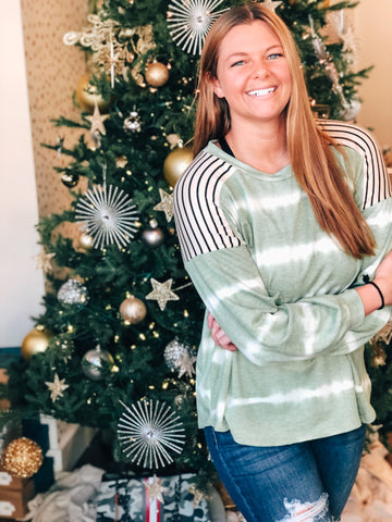 Olive and Stripe Long Sleeve Top