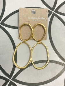 "Gold Two circle drop 2.5"" earrings"