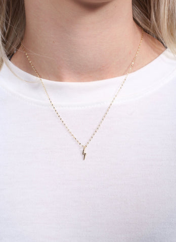 Mackey Delicate Necklace With Lightning Bolt Charm Gold
