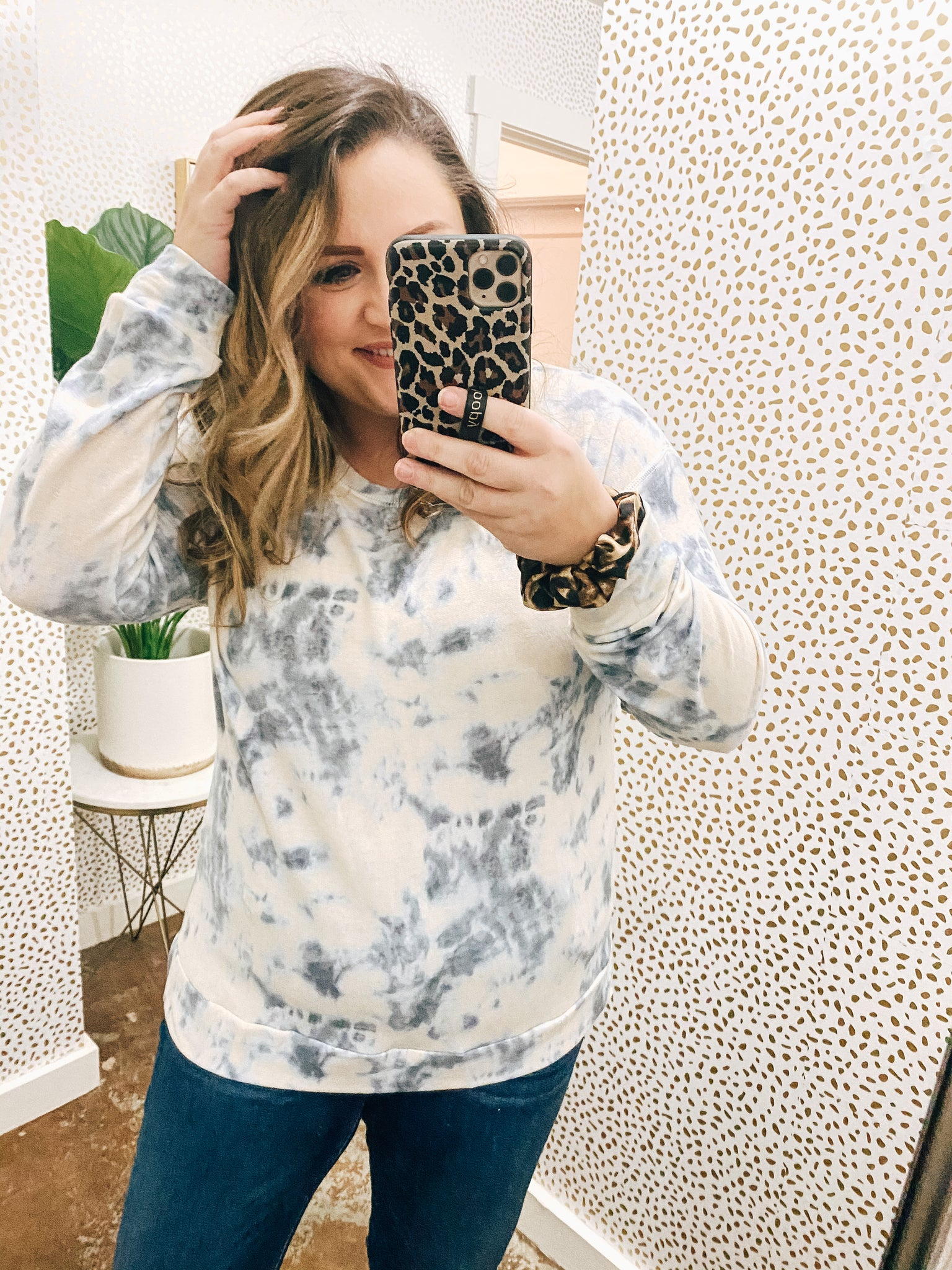 Blue and Cream tie-dye long sleeve