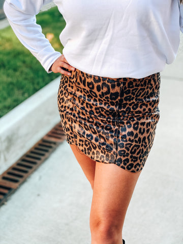 Faux Leather Leopard A-Line Skirt
