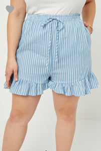 Curvy Stripe Chambray Shorts